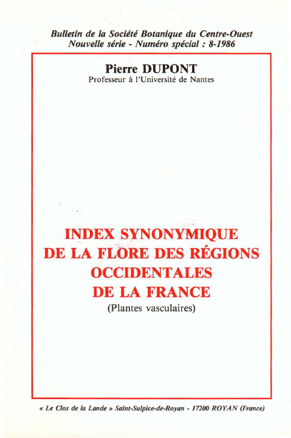 Index synonymique de la flore des régions occidentales de la France