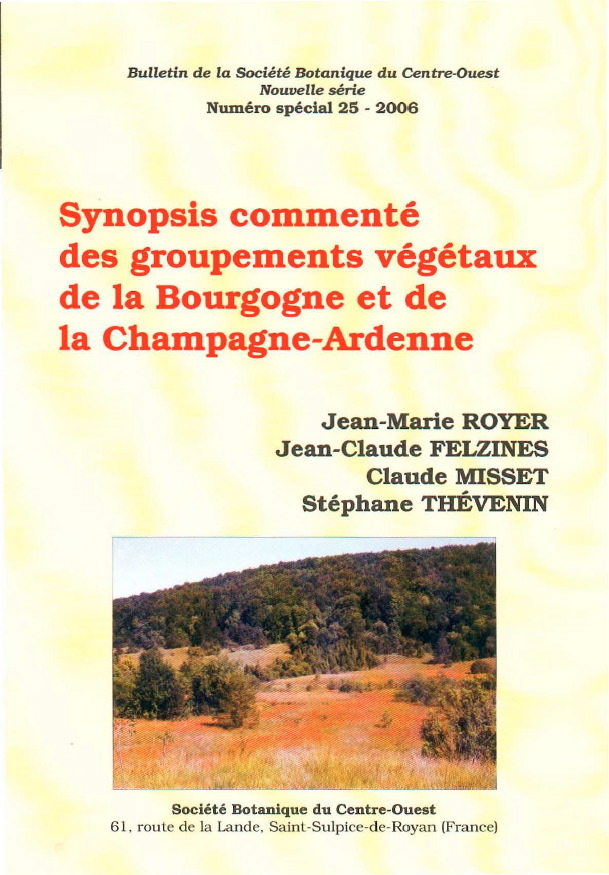 Synopsis commenté des groupements végétaux de la Bourgogne et de la Champagne-Ardenne